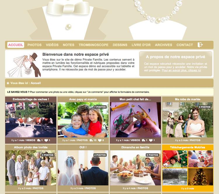 Voici un exemple d'espace privé d'une famille (site demo) avec des albums photos, des vidéos et toutes les rubriques de leur espace privé auquel les invités accèdent.