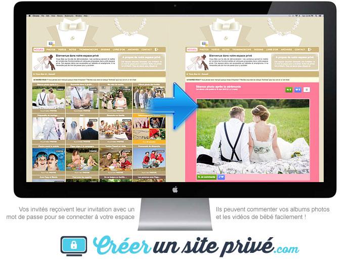 Oubliez les réseaux sociaux ou les mails pour partager vos photos de mariage : votre site de mariage privé est prêt en moins de 5 minutes et vous pouvez le personnaliser et ajouter autant de convives que vous le souhaitez dans votre liste d'invités